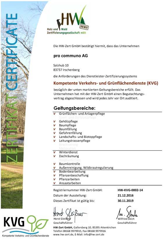 Zertifikat - pro communo AG